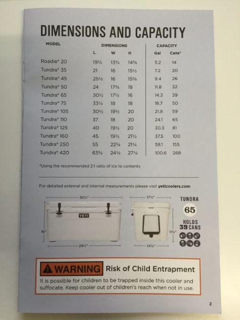 Yeti Coolers Capacity Brochure