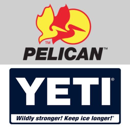 Yeti vs Pelican Coolers Logo