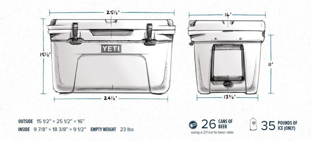 Yeti 45 Cooler Dimensions
